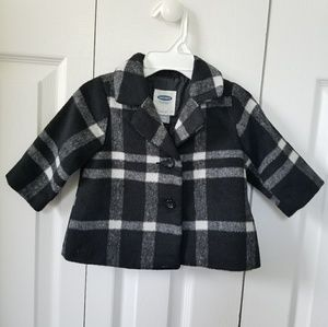 Old Navy Peacoat Plaid Baby Girls 3-6 Months